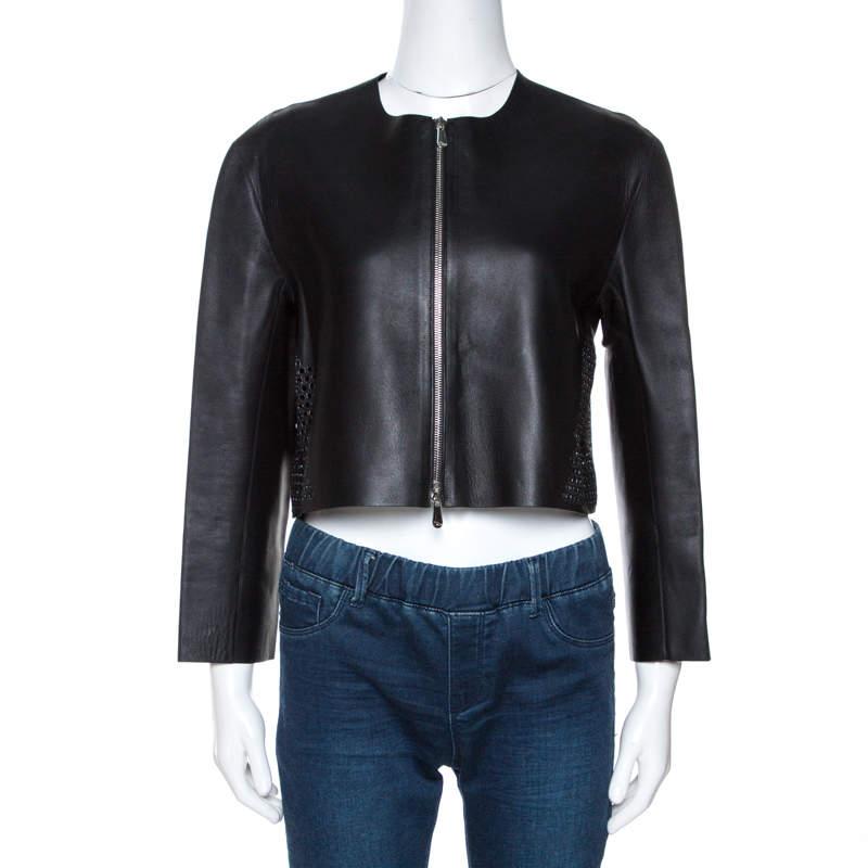 Dior Black Lamb Leather Laser Cut Detail Jacket M