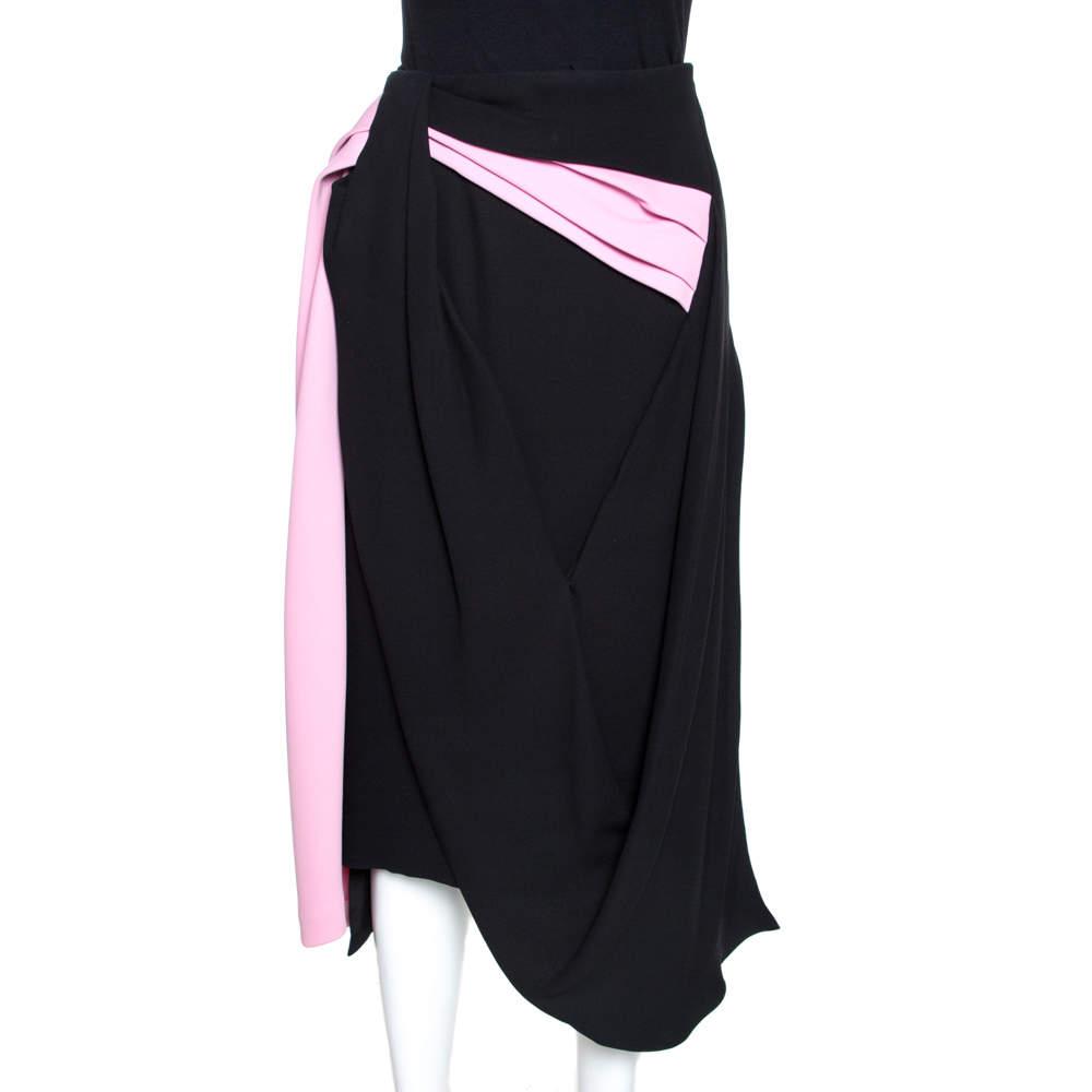 Dior Colorblock Silk and Wool Draped Asymmetric Midi Skirt S