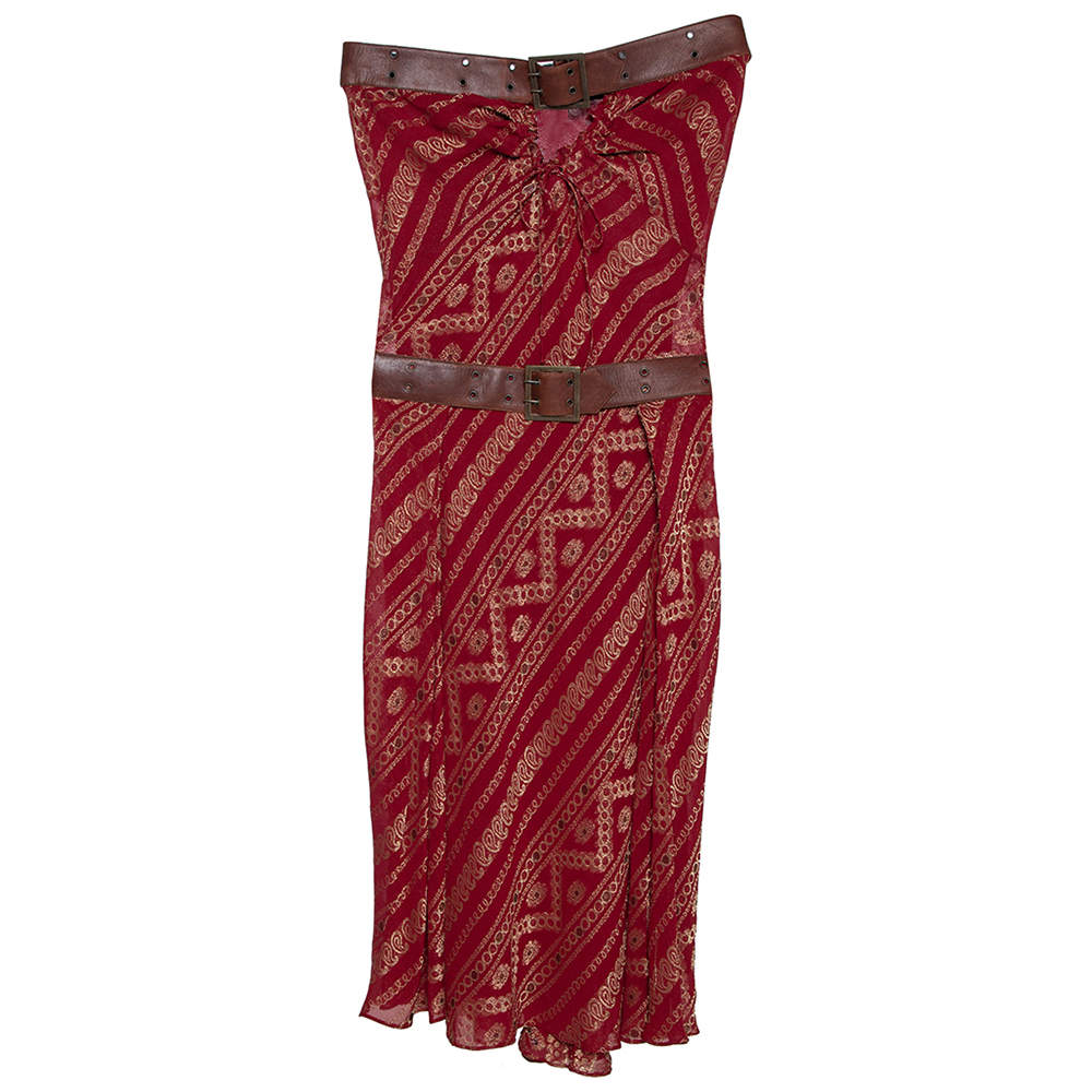Christian Dior Boutique Maroon Brocade Belted Strapless Dress S
