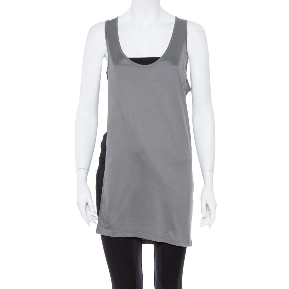 Dior Grey Cotton Open Asymmetric Tank Top S