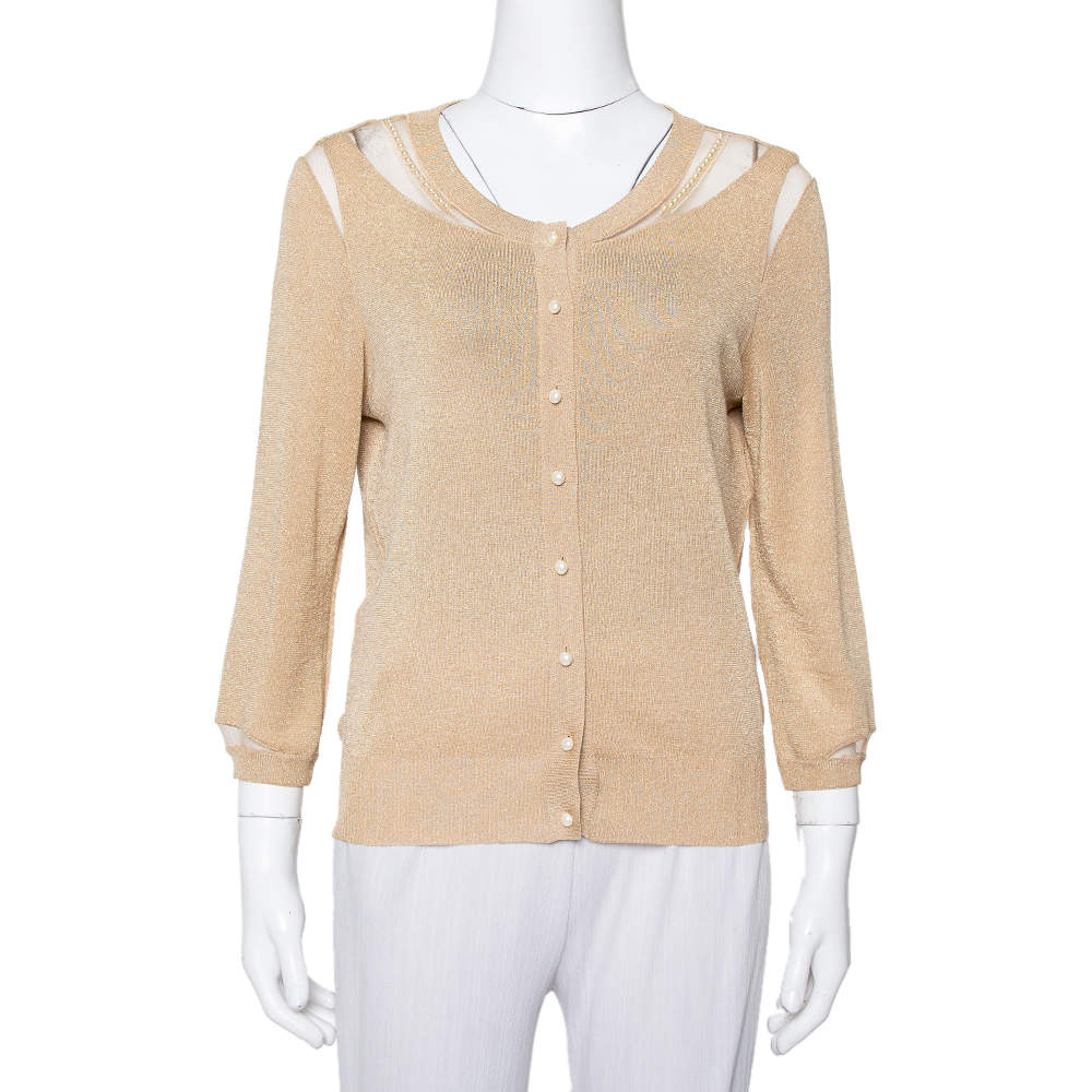 Christian Dior Gold Lurex Knit Bead Embellished Button Front Cardigan L