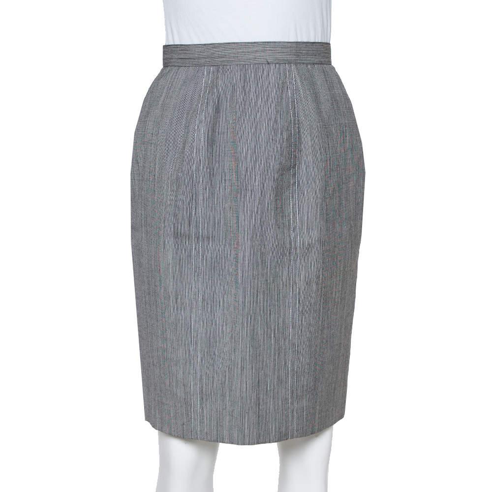 Christian Dior Grey Wool High Waist Pencil Skirt M