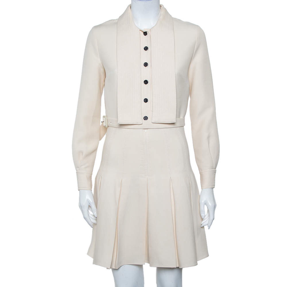 Christian Dior Cream Wool & Silk Collar Detail Pleated Belted Mini Dress S