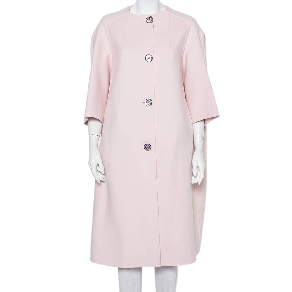 Christian Dior Pink Cashmere Button Front Mid Length Coat S