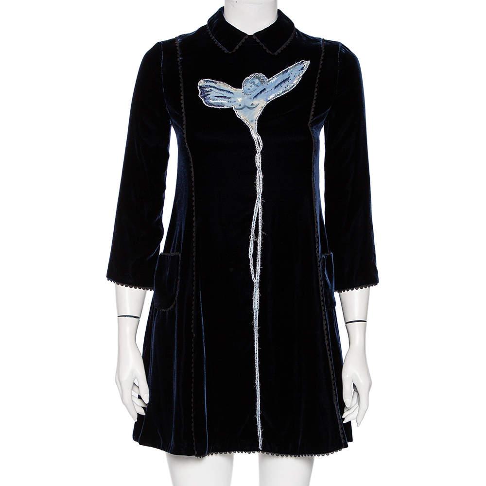 فستان ميني كريستيان ديور أزرق ميدنايت قطيفة حلية ملاك بياقة مقاس صغير - سمول