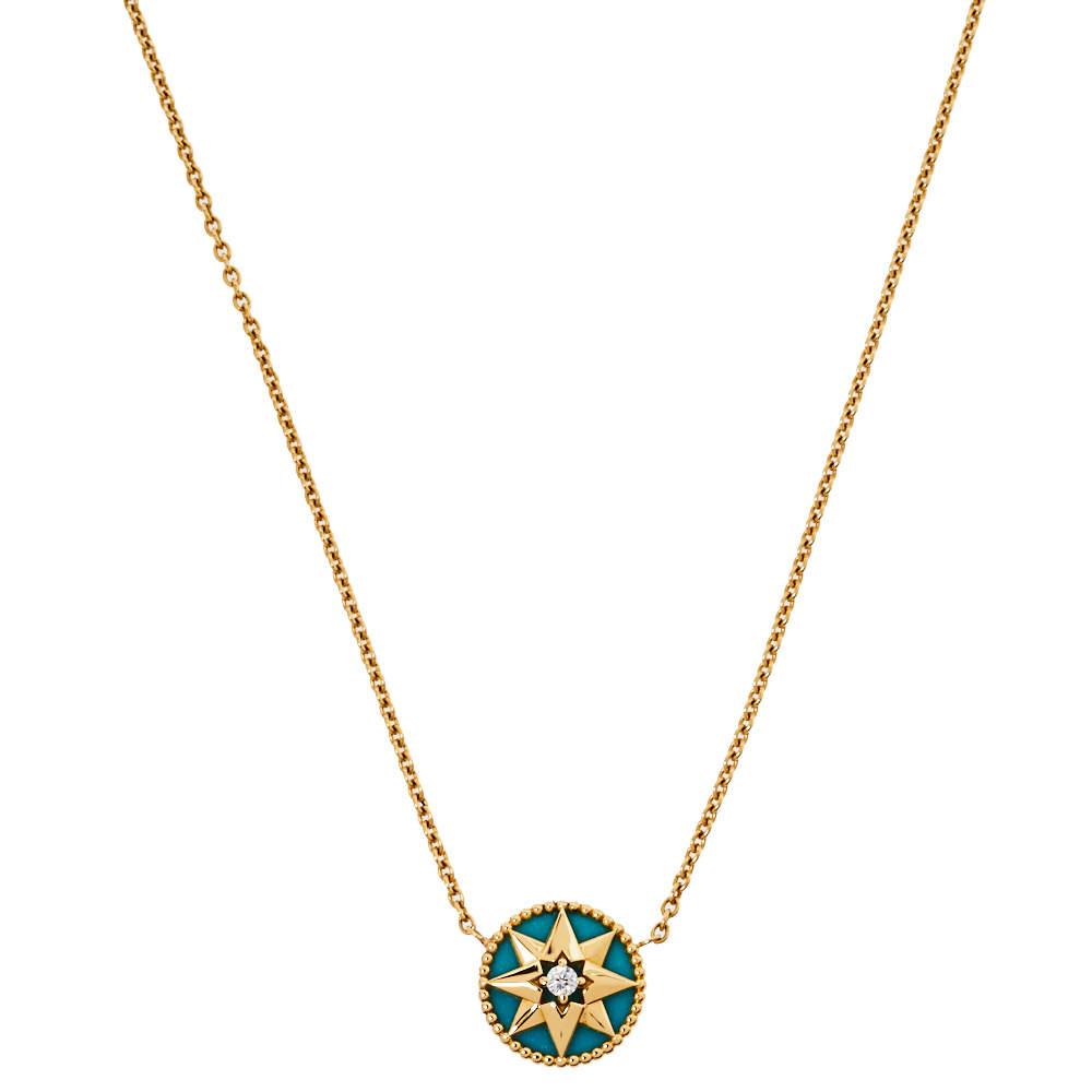 Dior Rose Des Vents Diamond Turquoise 18K Yellow Gold Pendant Necklace