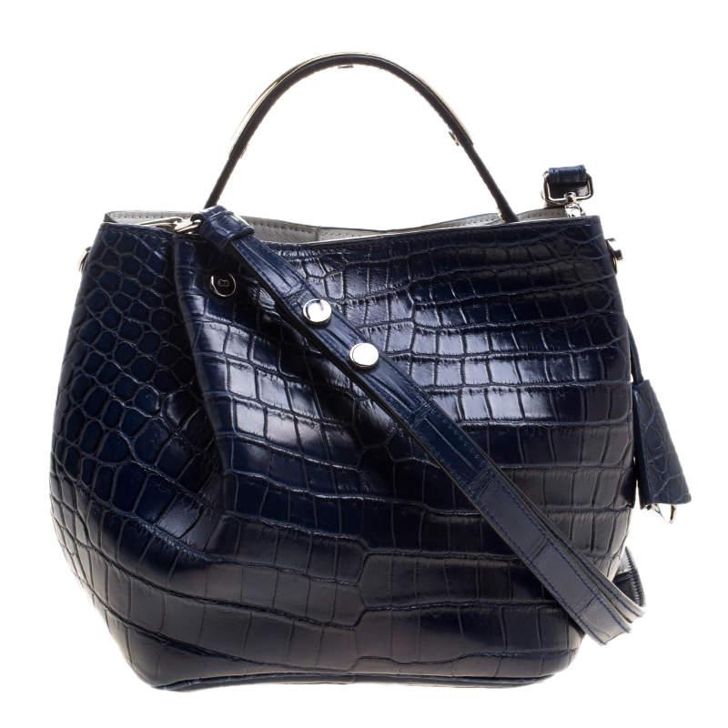 Dior Marine Blue Crocodile Small Diorific Bucket Bag