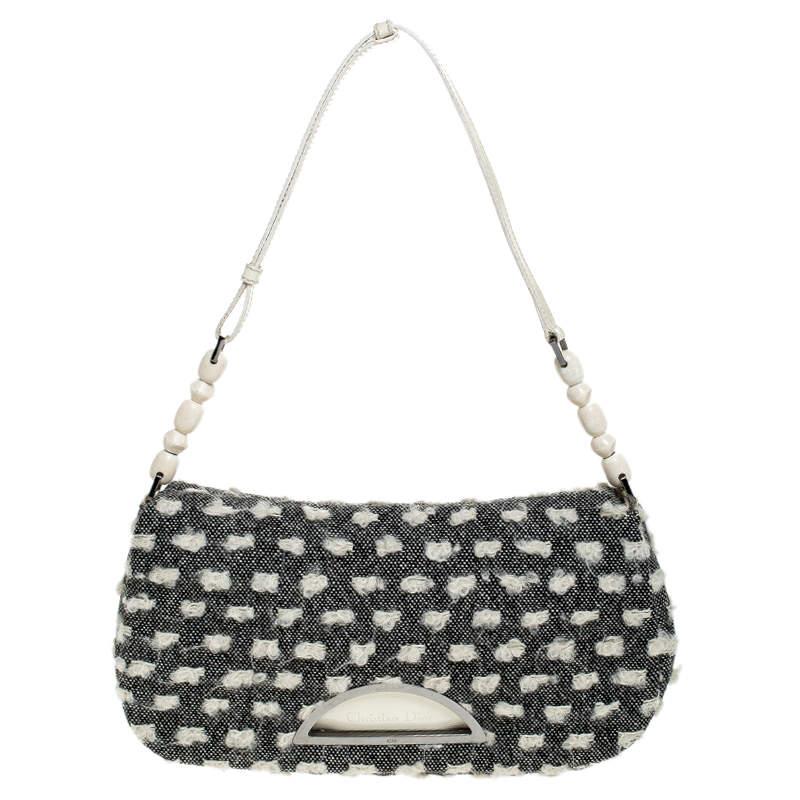 Dior Grey Tweed Limited Edition Beaded Malice Shoulder Bag