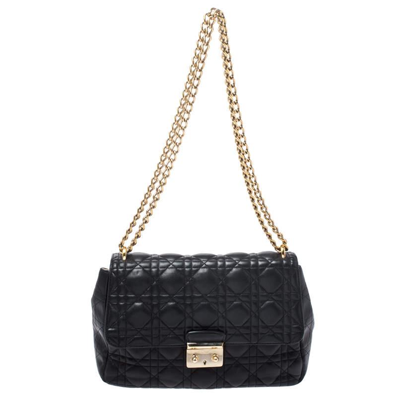 Dior Black Cannage Leather Miss Dior Medium Flap Bag