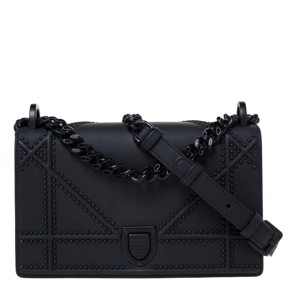 Dior Black Ultra Matte Leather Small Diorama Shoulder Bag