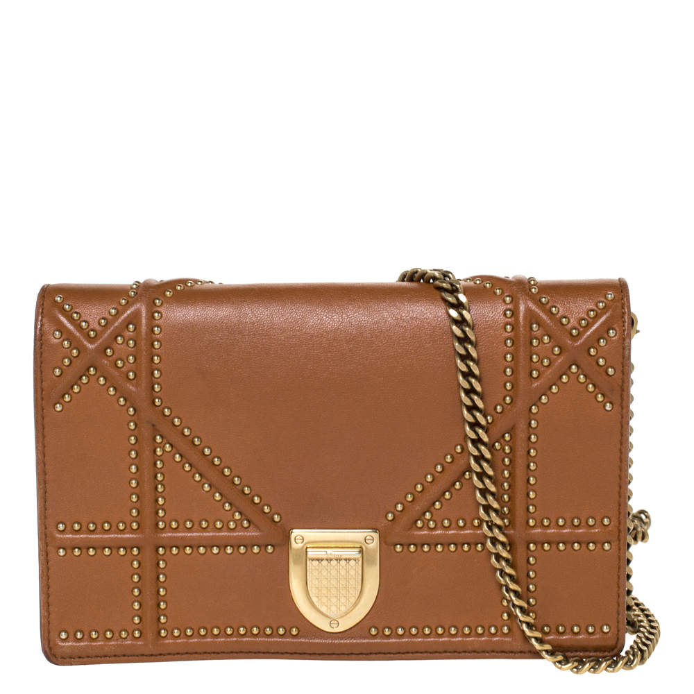 Dior Tan Leather Mini Studded Diorama Chain Shoulder Bag