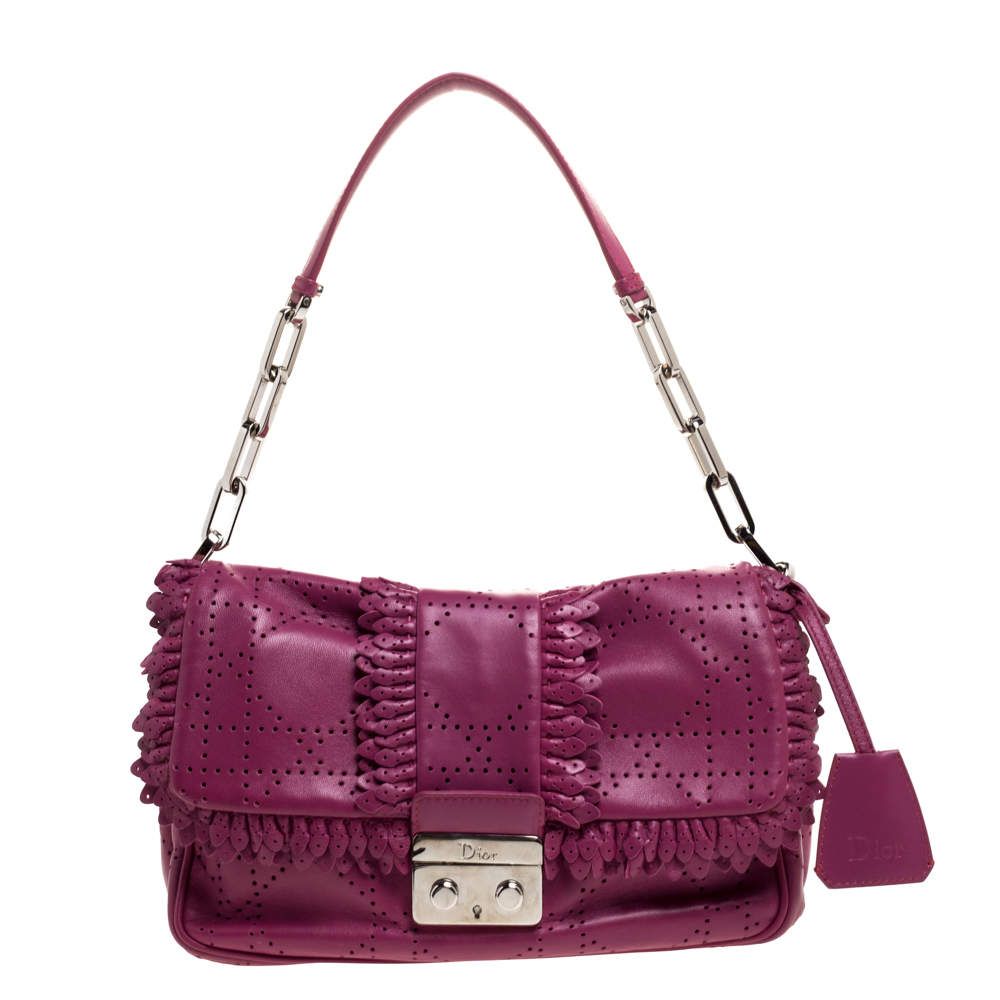 Dior Magenta Perforated Leather Ruffle New Lock Flap Bag