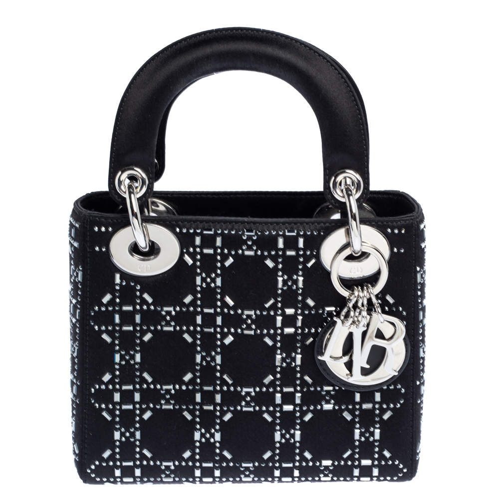 Dior Black Rhinestone Cannage Satin Mini Lady Dior Tote