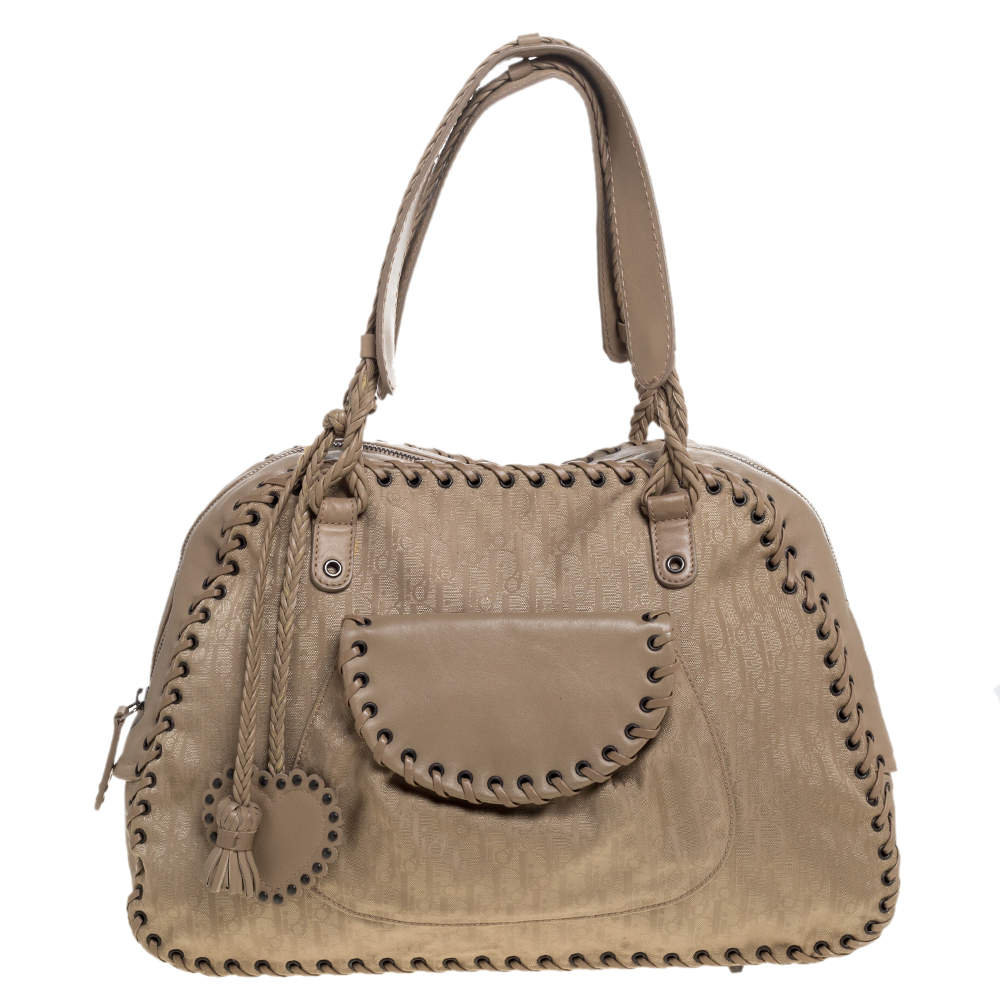 Christian Dior Beige Oblique Canvas and Leather Heart Charm Ethnic Shoulder Bag