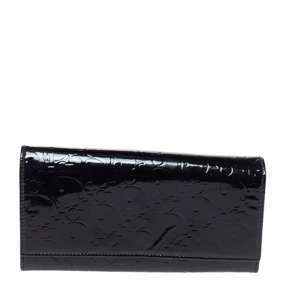 Dior Black Patent Leather Logo Ultimate Continental Wallet