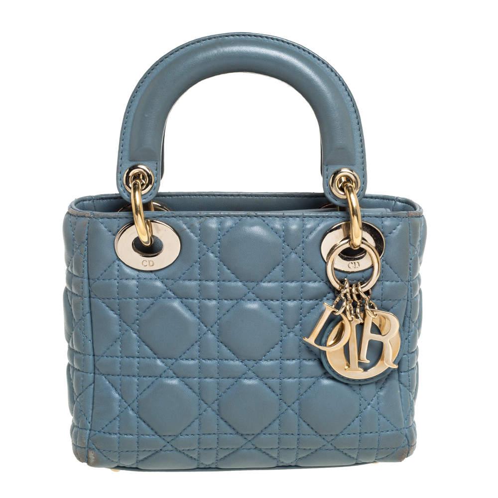 Dior Dusk Blue Cannage Leather Mini Lady Dior Tote