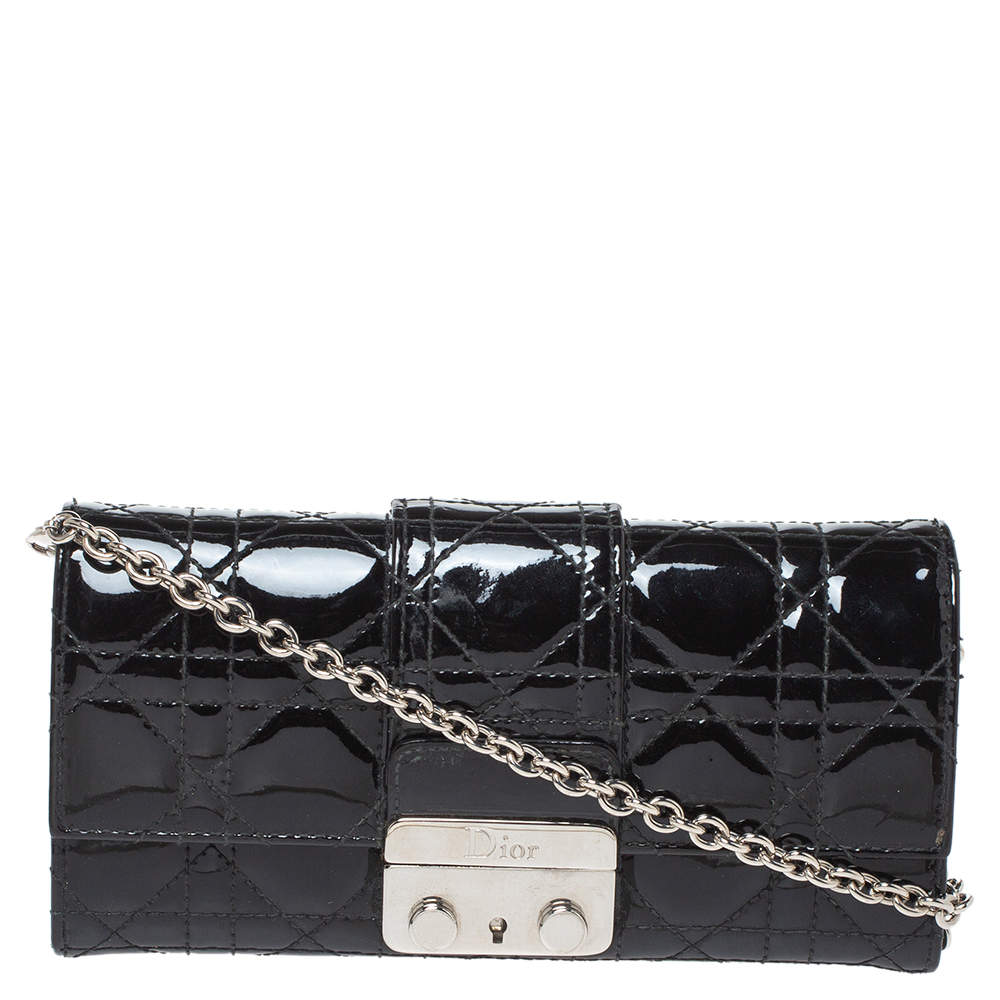 Dior Black Cannage Patent Leather New Lock Wallet on Chain