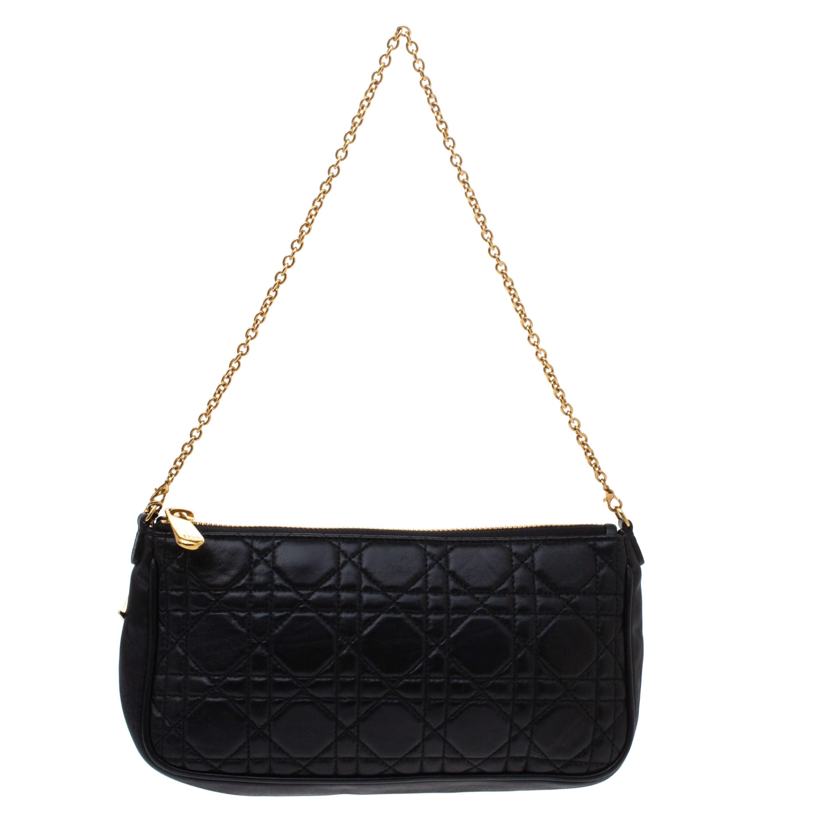 Dior Black Cannage Leather Chain Clutch