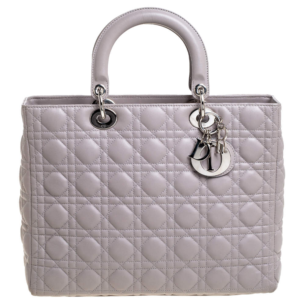 Dior Taupe Cannage Leather Large Lady Dior Tote