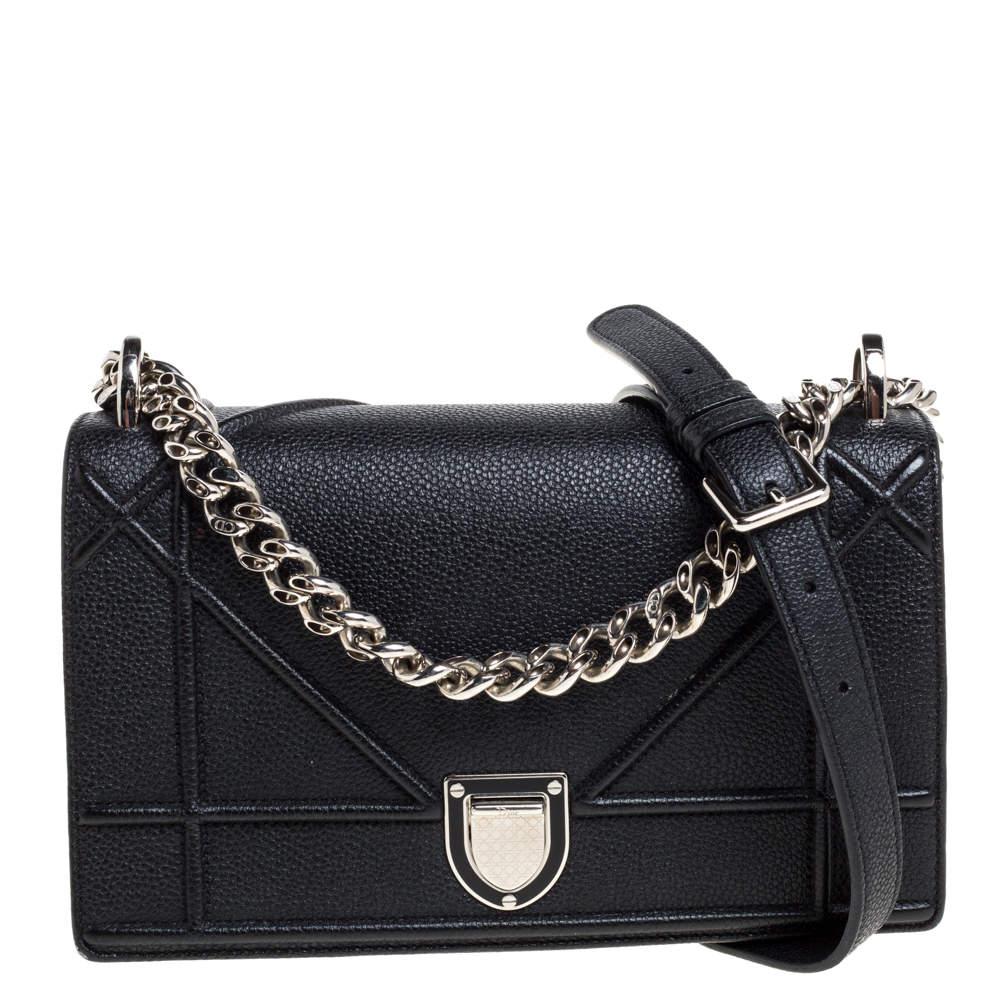 Dior Black Leather Small Diorama Shoulder Bag