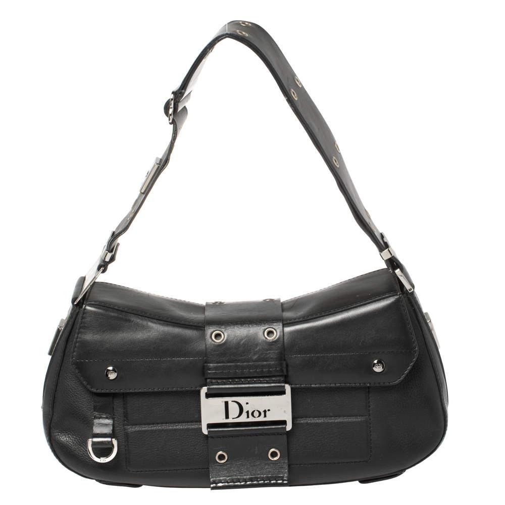 Dior Black Leather Street Chic Columbus Avenue Shoulder Bag