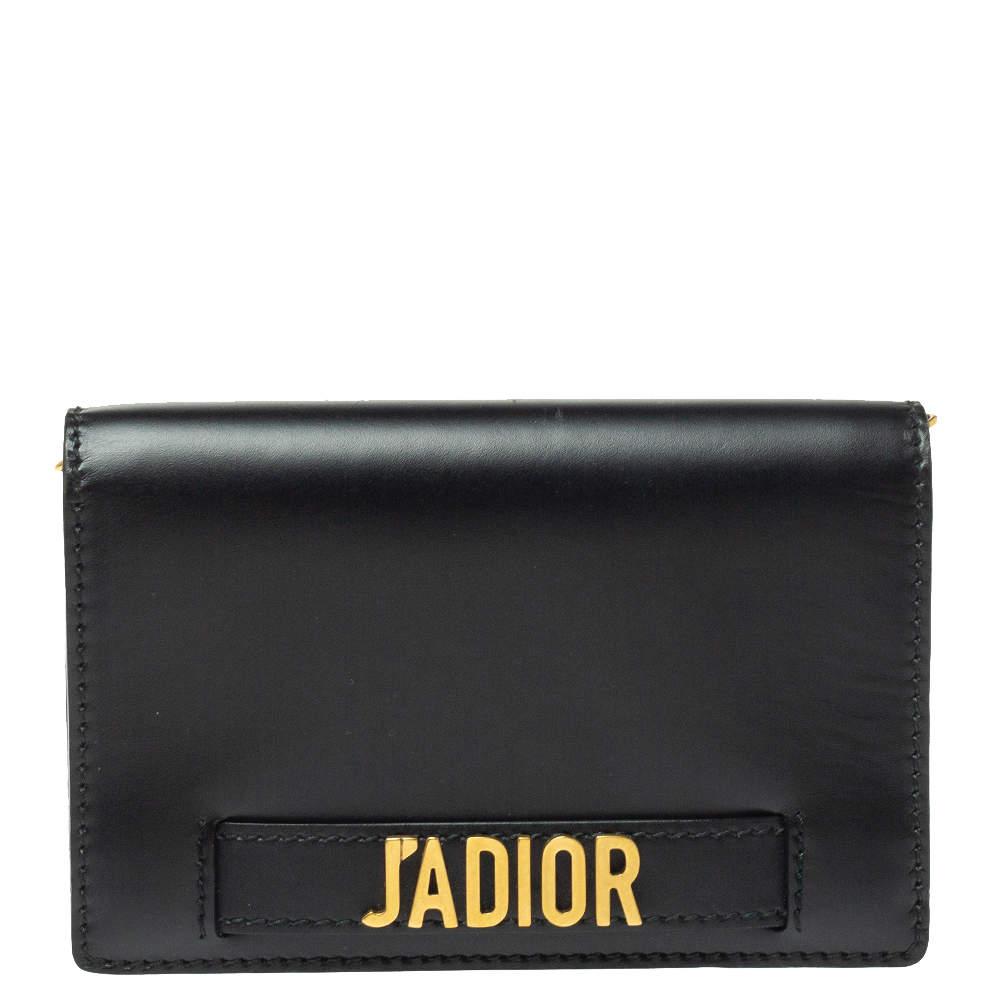 Dior Black Leather J'adior Wallet on Chain