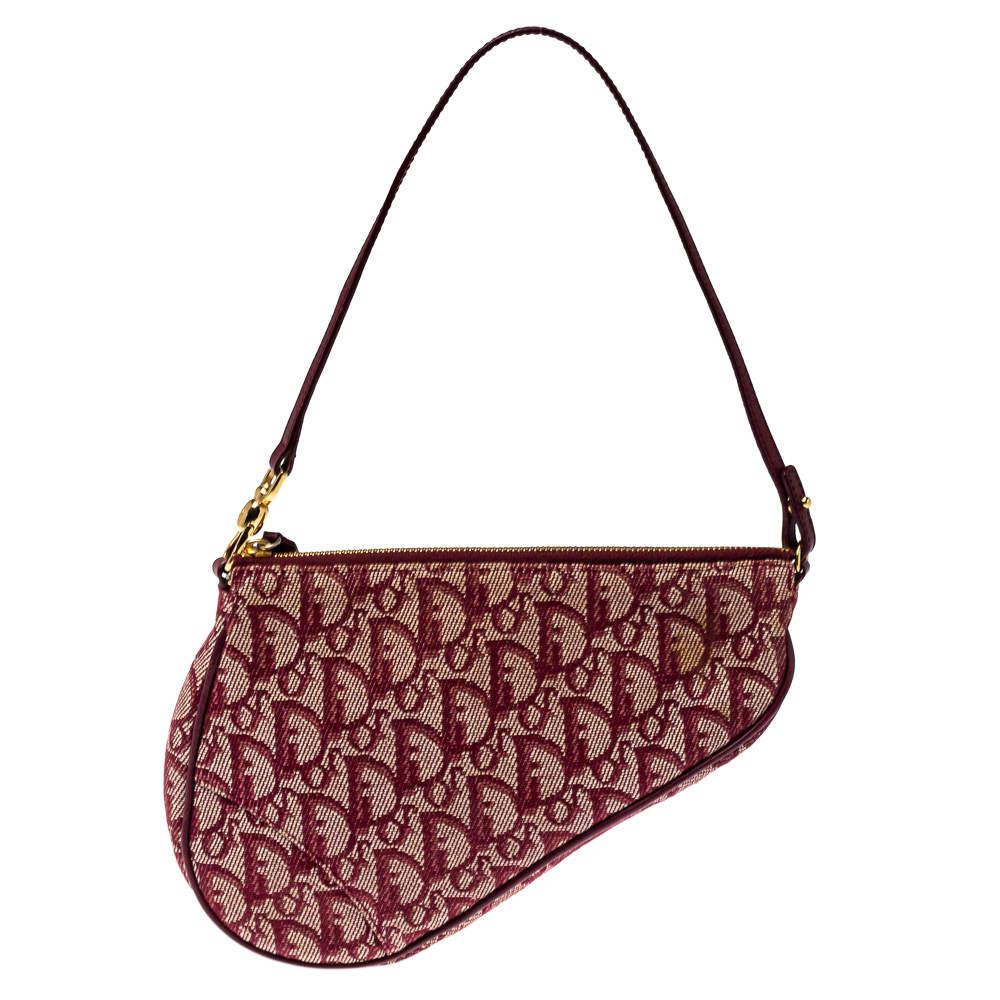 Dior Burgundy Diorissimo Canvas and Leather Saddle Bag
