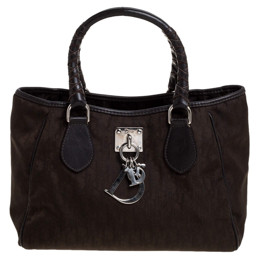 Dior Brown Diorissimo Canvas and Leather Charming Satchel