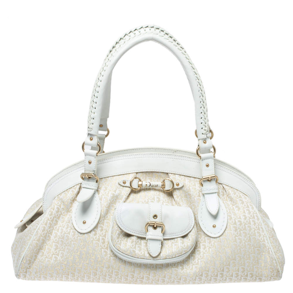 Dior White/Beige Oblique Canvas and Leather My Dior Frame Satchel