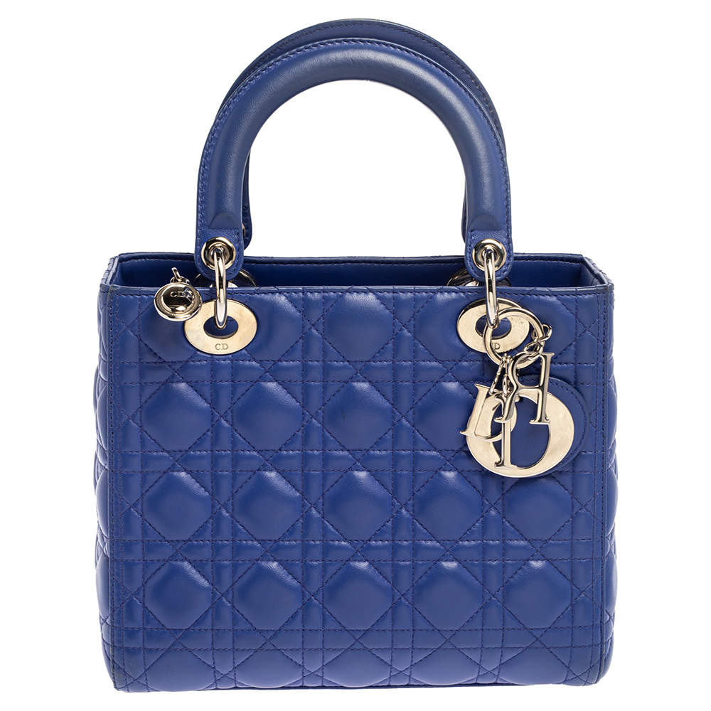 Dior Blue Cannage Leather Medium Lady Dior Tote