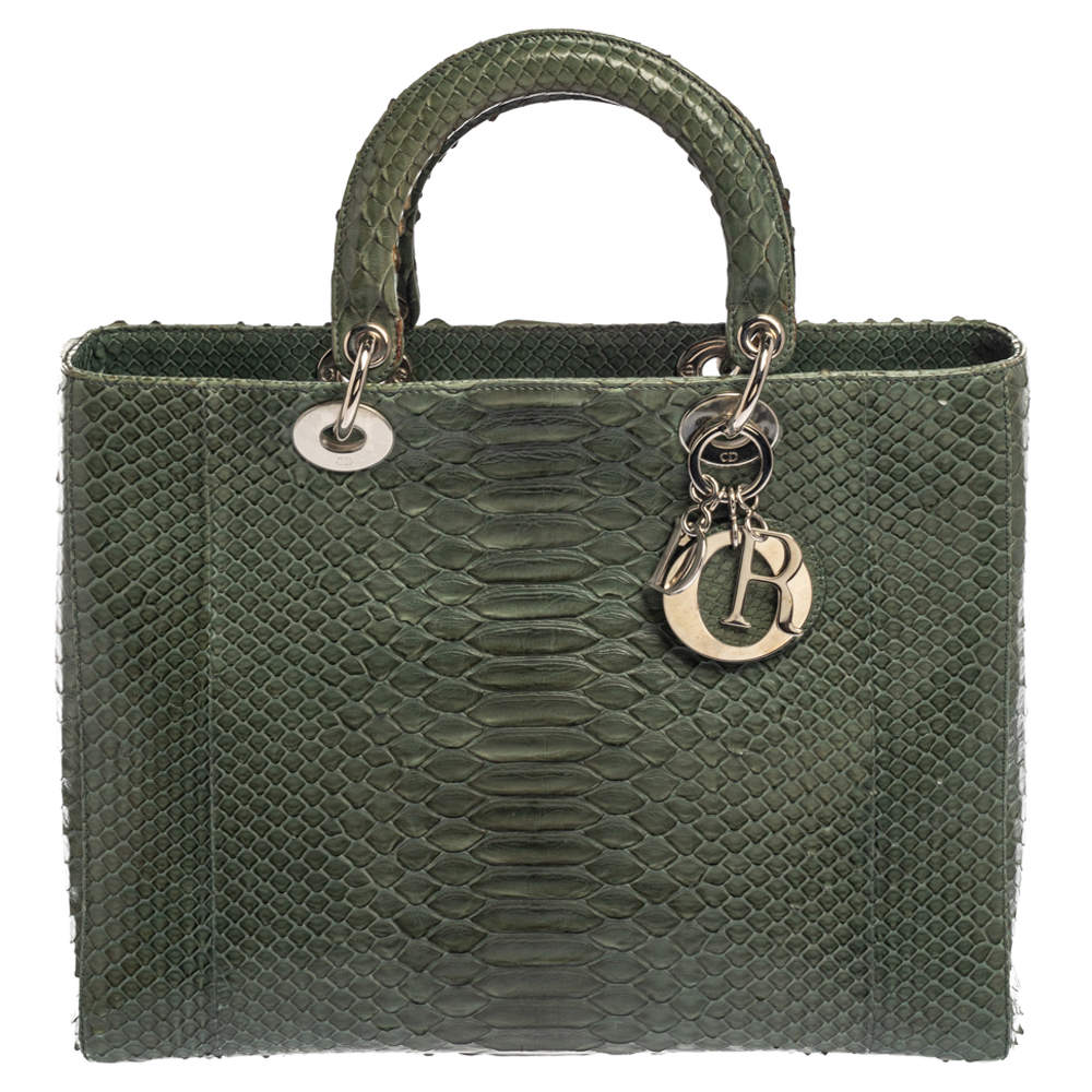 Dior Green Python Large Lady Dior Tote