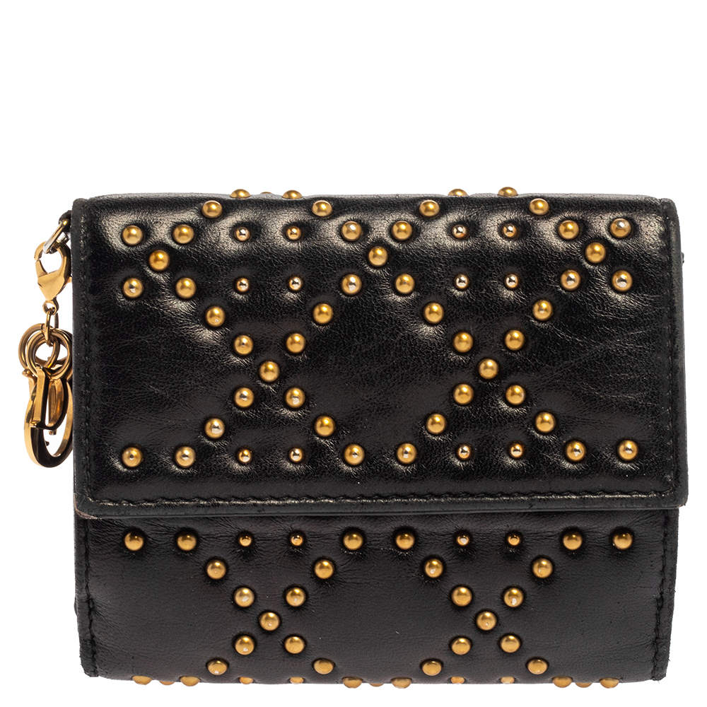 Dior Black Studded Leather Lady Dior Compact French Wallet