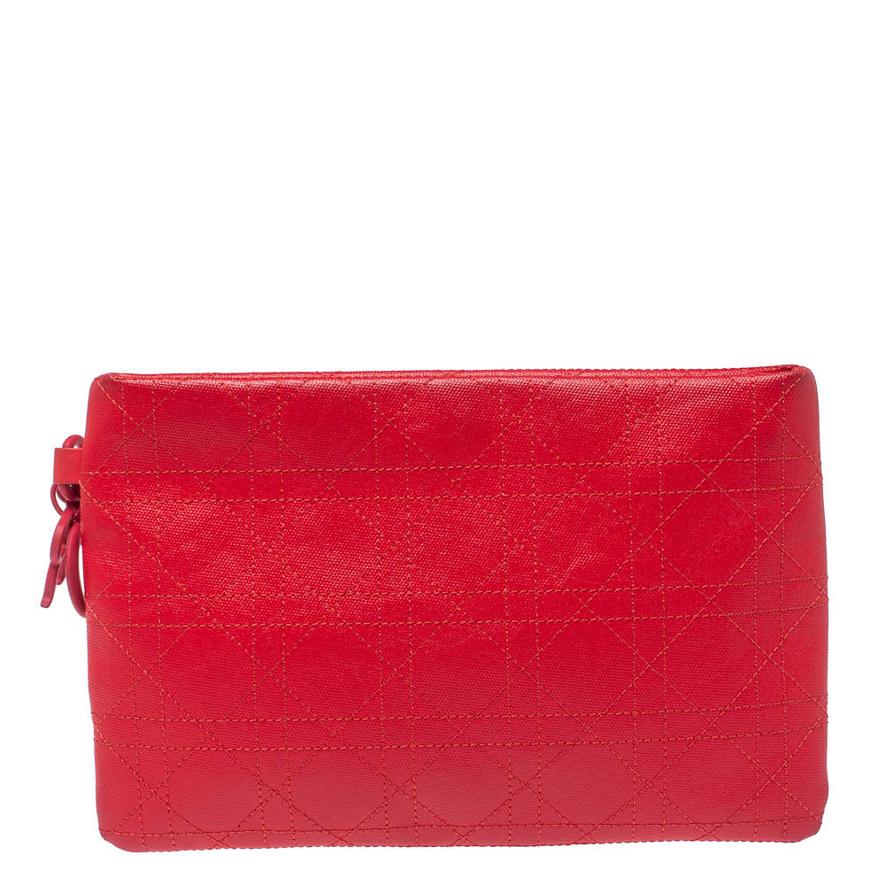Dior Red Cannage Coated Canvas Panarea Clutch