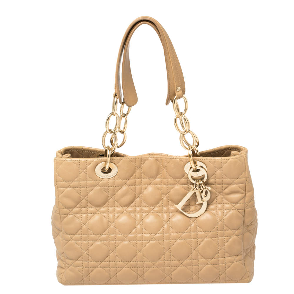 Dior Beige Cannage Quilted Leather Small Dior Soft Shopping Tote