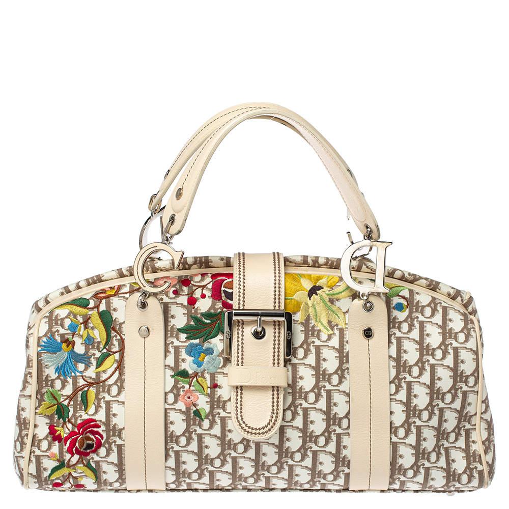 Dior Beige Oblique Floral Embroidered Canvas and Leather Frame Satchel