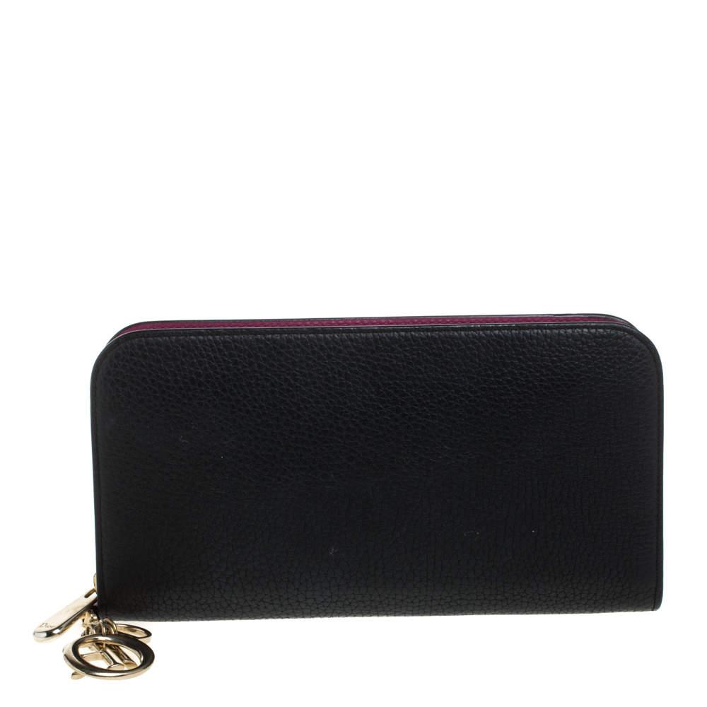 Dior Black Leather Diorissimo Voyageur  Zip Around Wallet