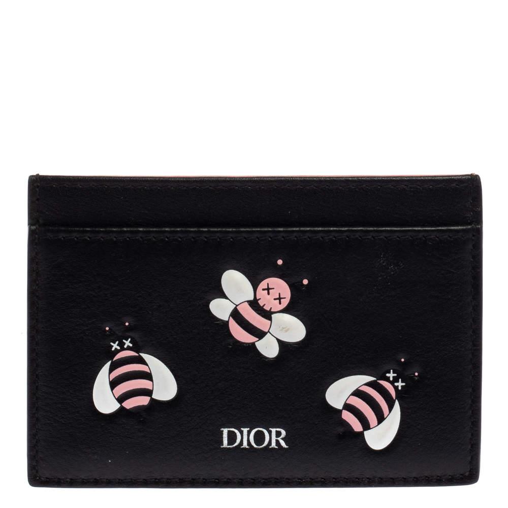 Dior x Kaws Black Leather Pink Bees Cardholder