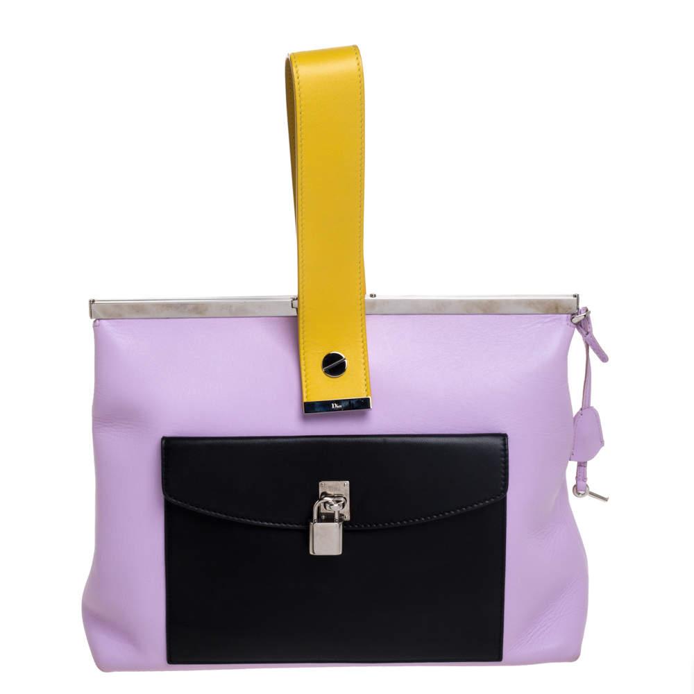 Dior Multicolor Leather Pocket Frame Clutch