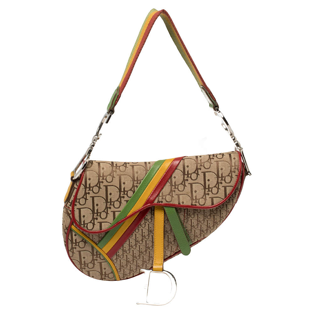 Dior Multicolor Oblique Canvas and Leather Rasta Saddle Bag