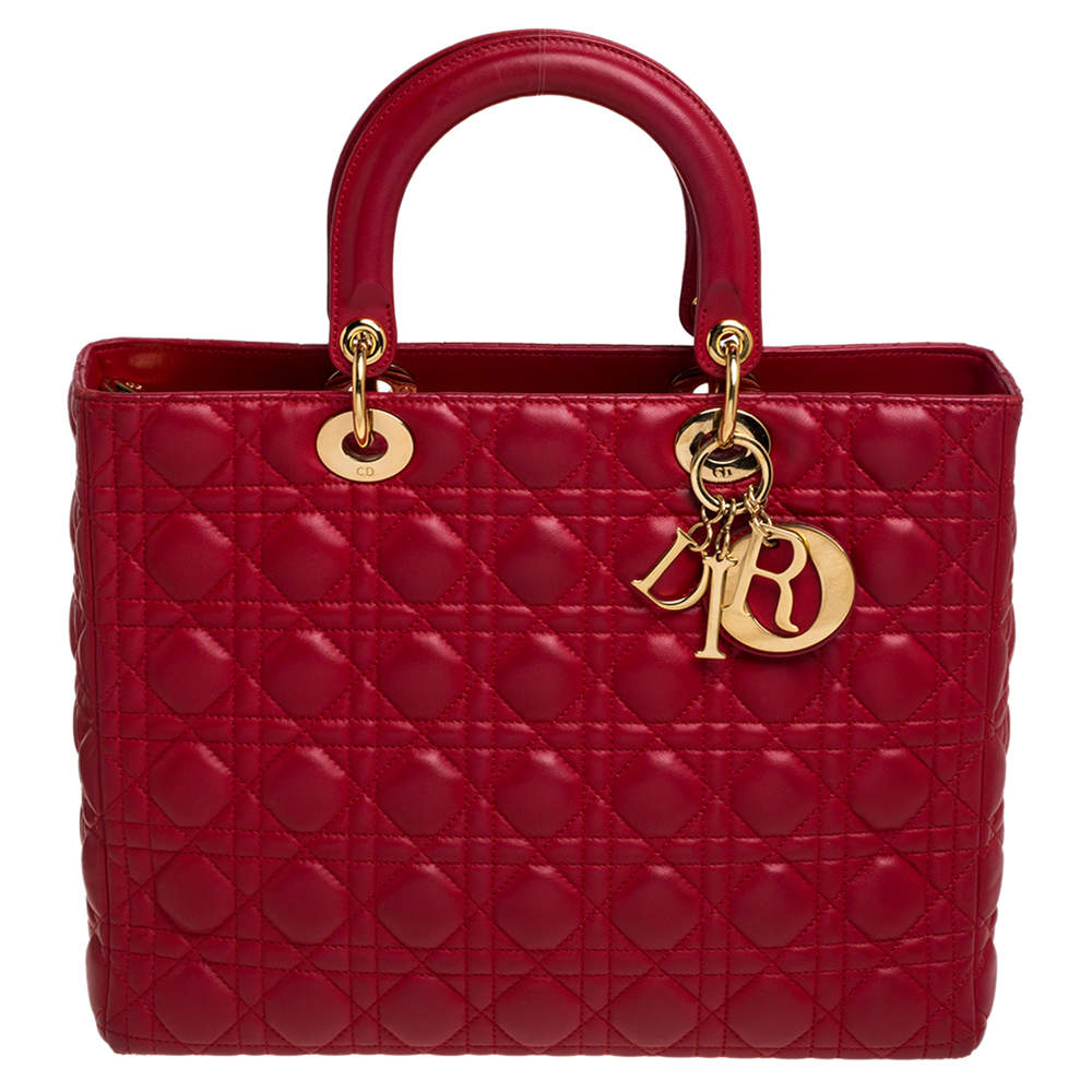 Dior Red Cannage Leather Large Lady Dior Tote