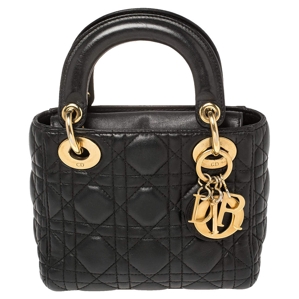 Dior Black Cannage Leather Mini Lady Dior Tote