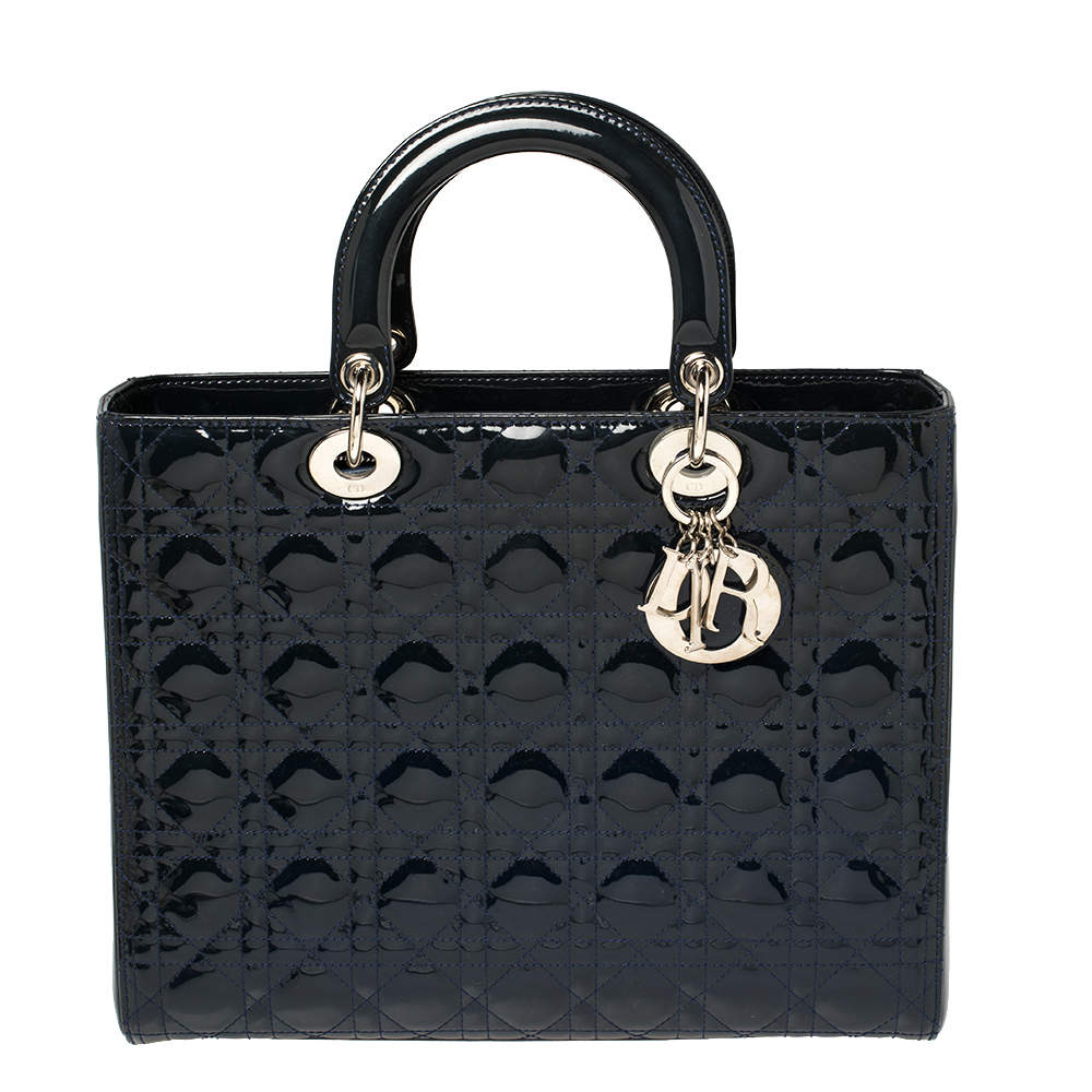 Dior Blue Cannage Patent Leather Large Lady Dior Tote