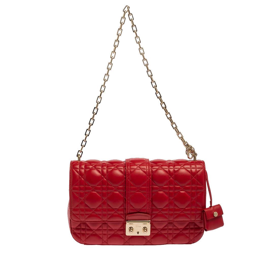 Dior Red Cannage Leather Miss Dior Shoulder Bag