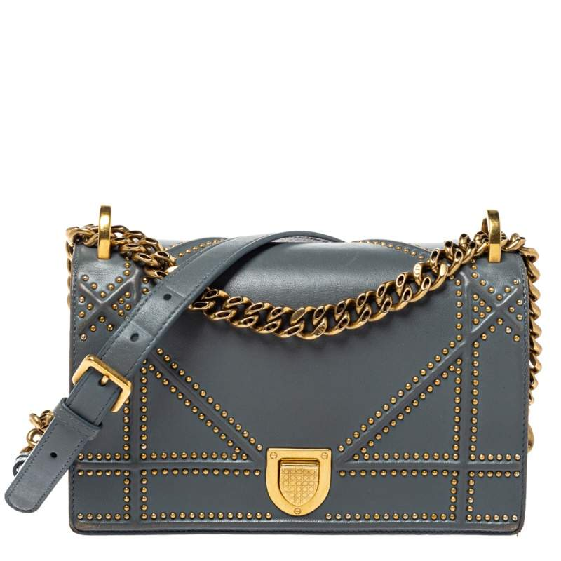 Dior Grey Studded Leather Small Diorama Shoulder Bag