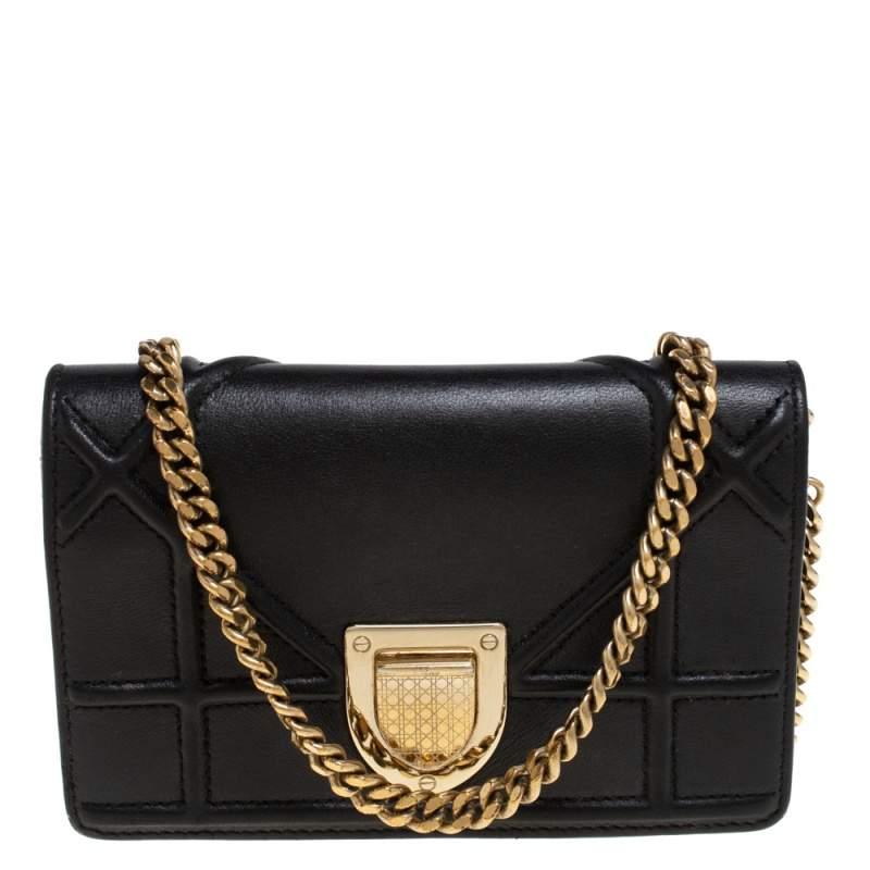Dior Black Cannage Leather Baby Diorama Crossbody Bag