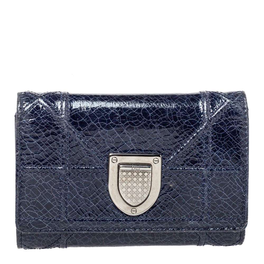 Dior Blue Patent Leather Diorama Elancee Trifold Wallet