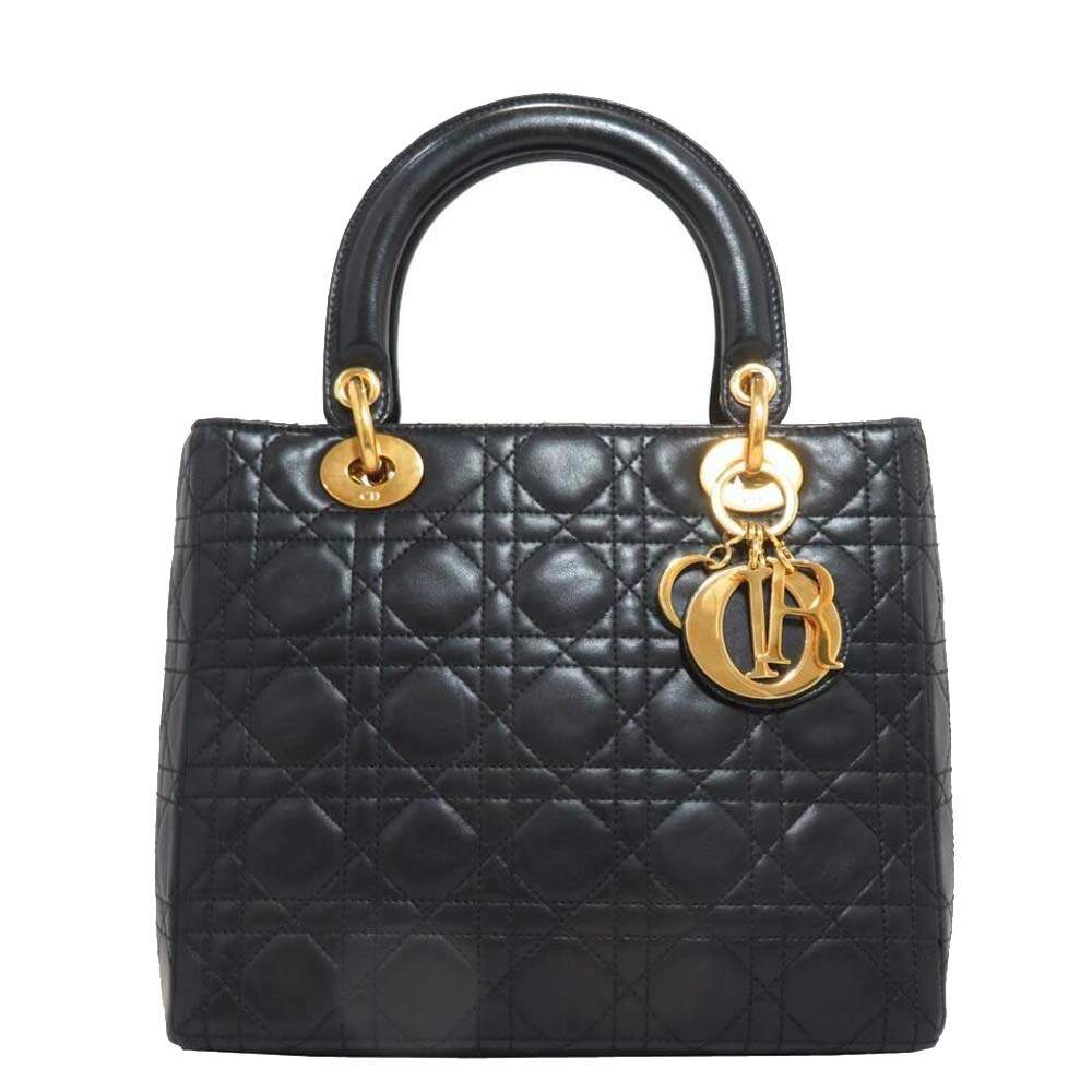 Dior Black Quilted Cannage Leather Lady Dior Bag