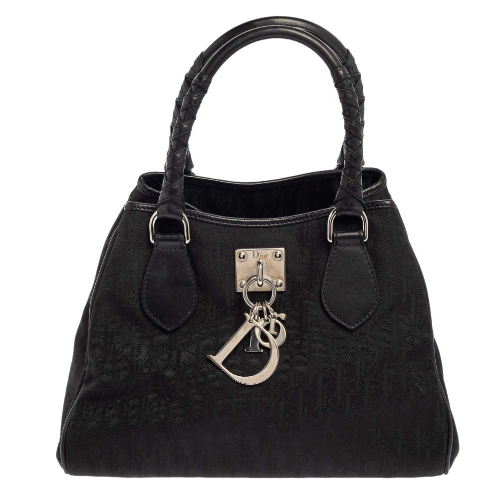 Dior Black Oblique Canvas Small Tote