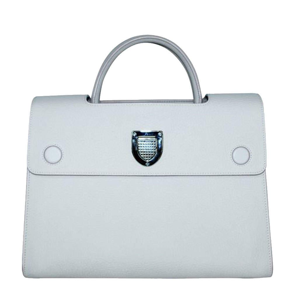 Dior White Leather Diorever Medium Top Handle Bag