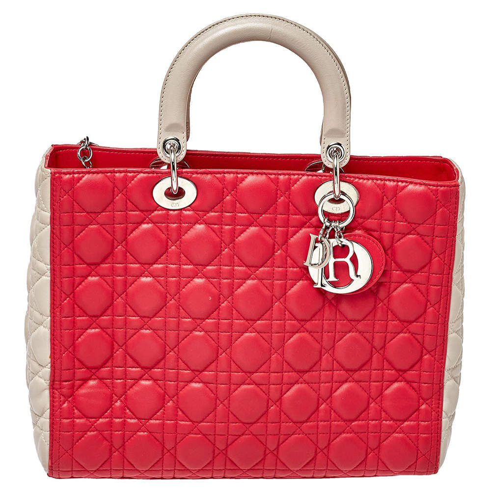 Dior Bi Color Cannage Quilted Lambskin Large Lady Dior Bag